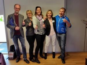 Fr v Lasse Jonsson, Inger Christensen, Cecilia Brunosson, Gunilla Malm och Nicklas Lautakoski