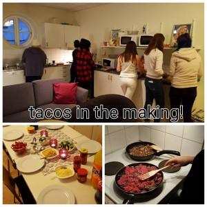 Första middagen blev det tacos! Flitiga matlagare i köket.